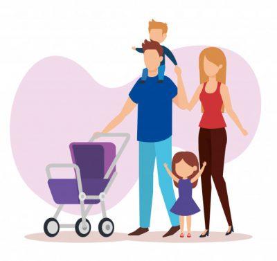 pareja-padres-personajes-carro-bebe_24877-52990